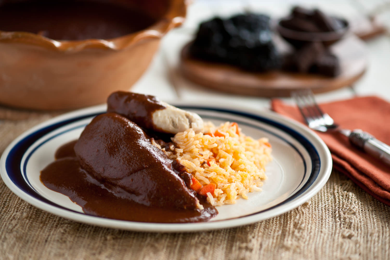 Chicken Mole with Rice - Chef Sofia Jasso - Theresa Fernandez Photography | Dallas Food Photographer