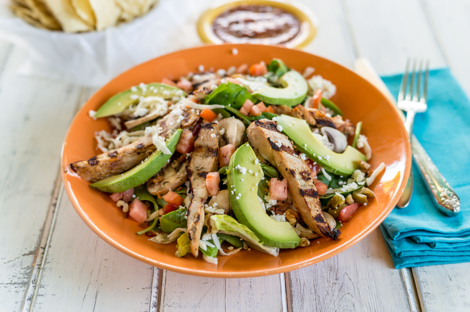 Grilled Chicken Salad - Blue Goose Cantina - Theresa Fernandez Photography | Dallas Food Photographer